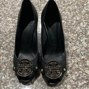 Tory Burch black leather wood wedges